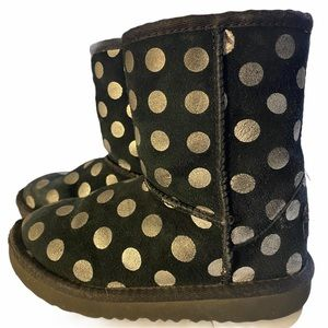 UGG Black Silver Polka Dot Little Girl's Boots 11c
